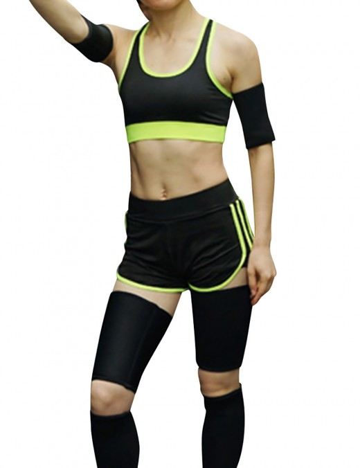 Sporty Fat Burning Yellow Neoprene Slimming Calf Set Reduce Fatigue