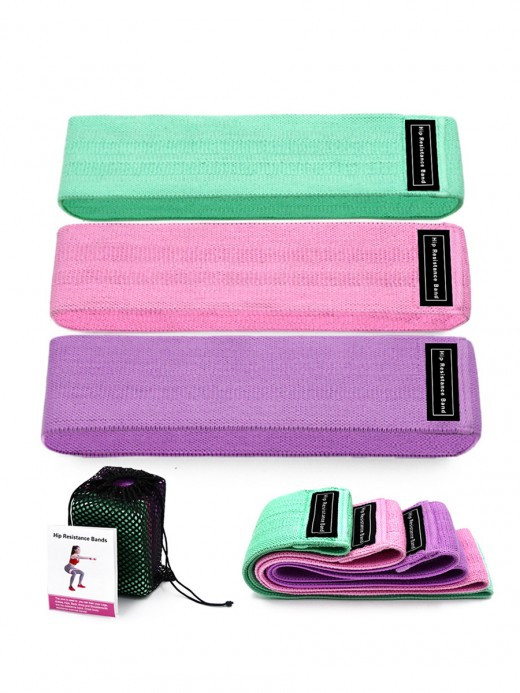 Figure Shaping 3 Pieces Hip Resistance Band Colorblock Slimming Thigh