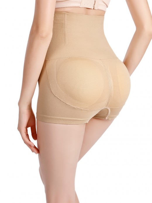 Super Trendy Apricot High Waist Padded Panties Seamless Enhancer