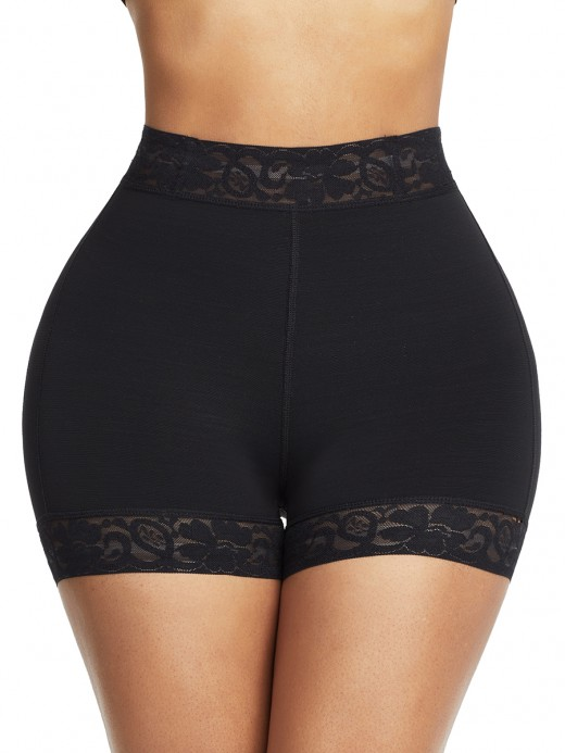 Supportive Black High Waist Lace Butt Enhancer Panty Curve-Creating