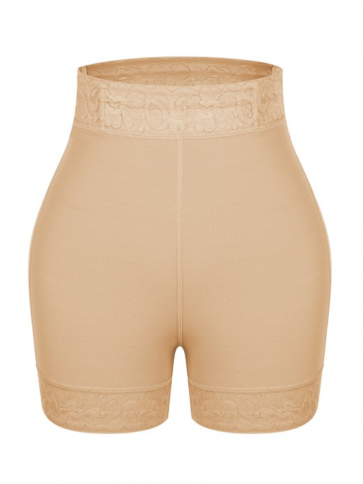 Lightweight Deep Skin Color Solid Color Lace Trim Shorts Shapewear