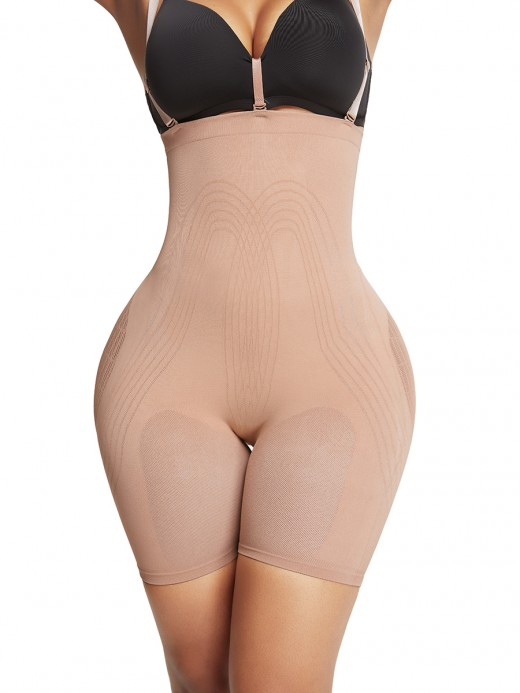 Skin Color Tummy Control Seamless Body Shaper With Bra Clips