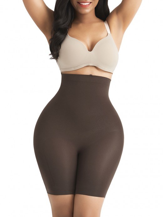 Must-Have Dark Brown Seamless Buckle Butt Enhance Plus Size