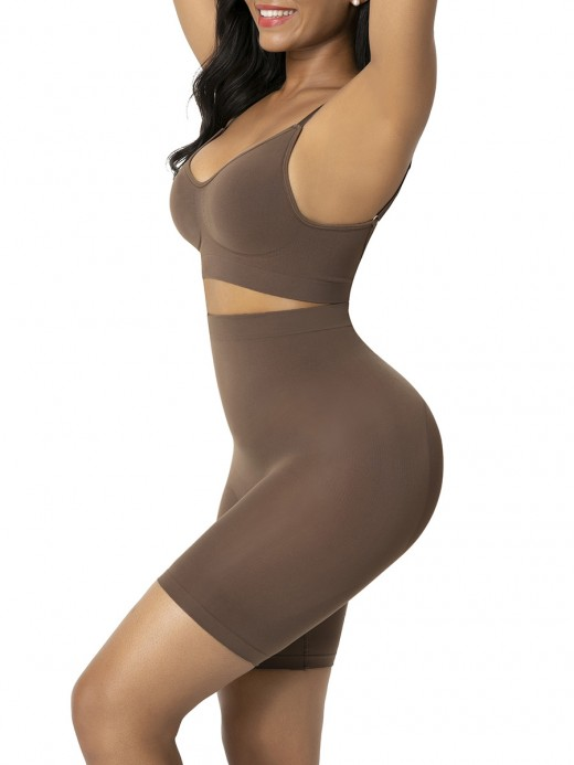 Brown Shapewear Shorts Butt Lifter Anti-Slip Weight Loss