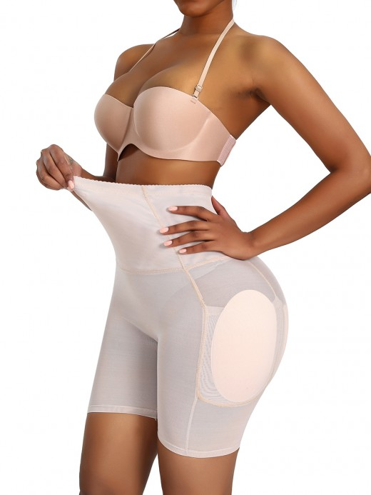 Particularly Skin Color Big Size Butt Lifter Mesh High Rise