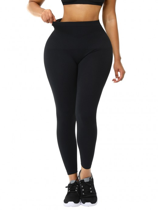 Black Seamless High Waist Tummy Control Shapewear Pants For Exercising