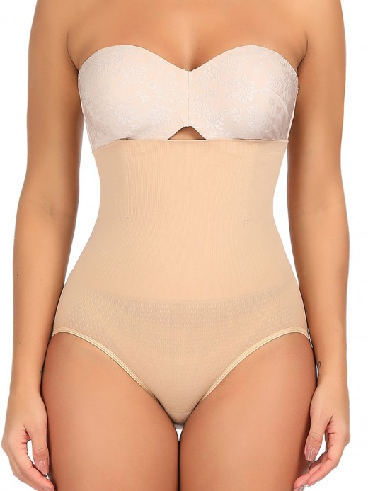 Durable Apricot High Cut Solid Color Plus Size Panty Superior Quality
