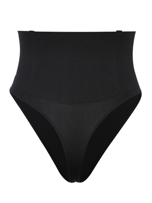 Black Seamless 4 Steel Bones Shapewear Thong Sleek Smoothers