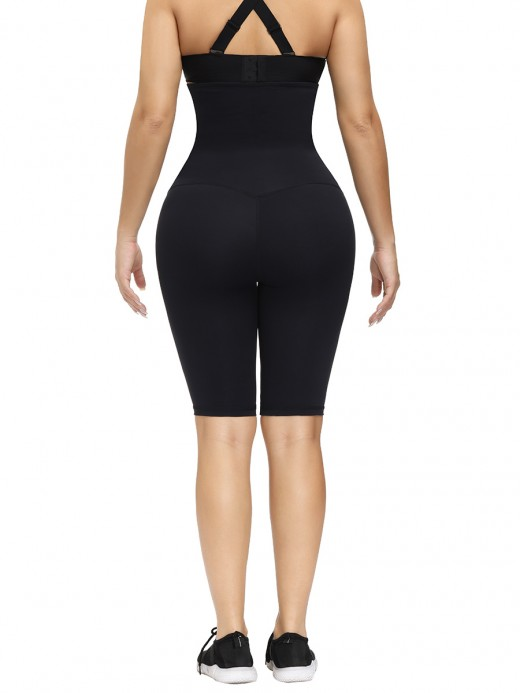 Black Waist Trainer Knee-Length Butt Lifter High-Compression