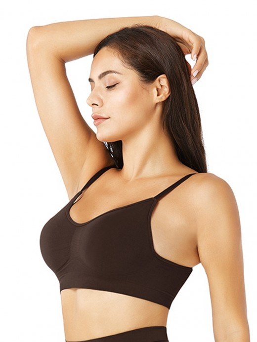 Deep Coffee Push Up Seamless Bra Removable Pads Leisure Wear