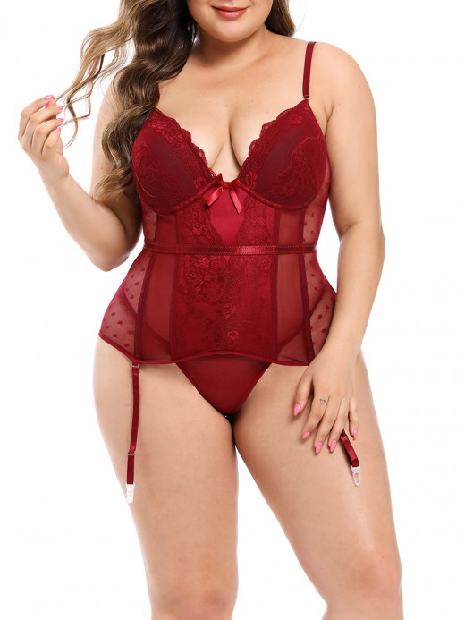 Exquisitely Red Lace Mesh Patchwork Corset With Thong Soft-Touch