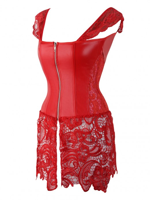 Unique Red Drawstring 8 Glue Bones Lace Bustier Wrap Slimmer