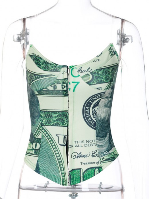 Green Print No Fish Bones Corset Top With Hooks Comfort
