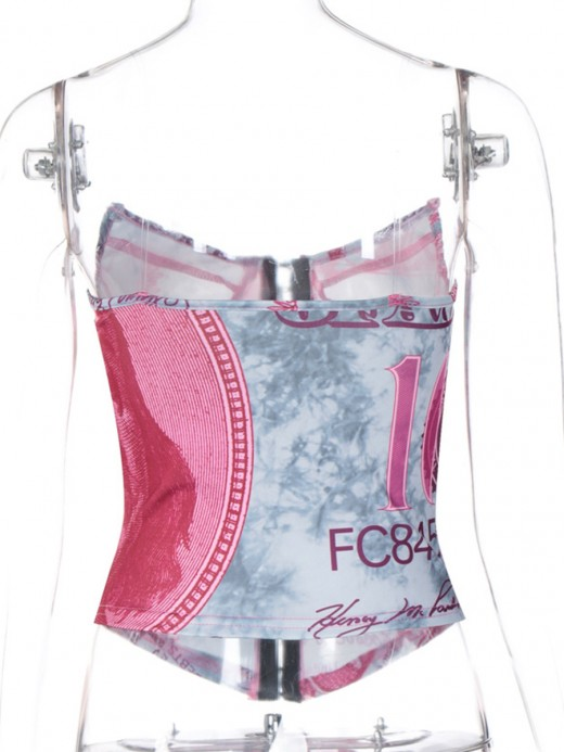Rose Red Front Hooks Corset Top With No Fish Bone Elastic