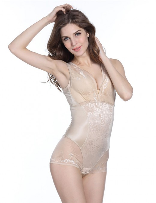 Lace Strap Thigh Slimmer Body Briefer
