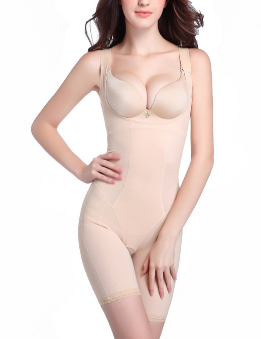 Affordable Large Seamless Nude Bodysuit Open Bust Lace Trim