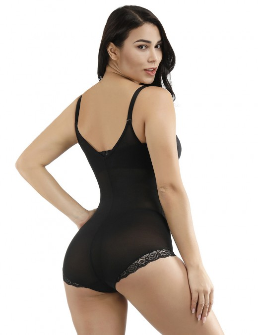 Black Adjustable Strap Lace Plus Size Full Body Shapewear Secret Slimming