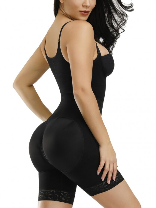 Black 3 Layers Adjustable Strap Full Body Shaper Midsection Compression
