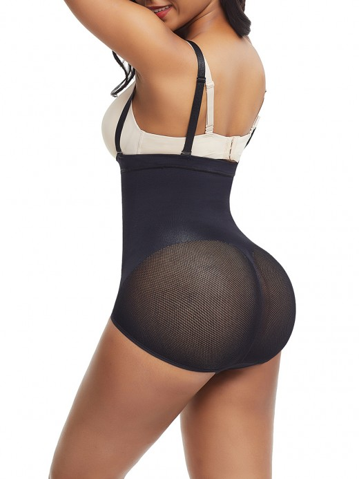 Black Adjustable Strap Sheer Mesh Seamless Panty Posture Correction
