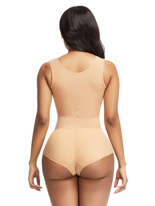 Sexy Skin Color Flat Tummy Front Hook Full Body Shaper Posture Correction