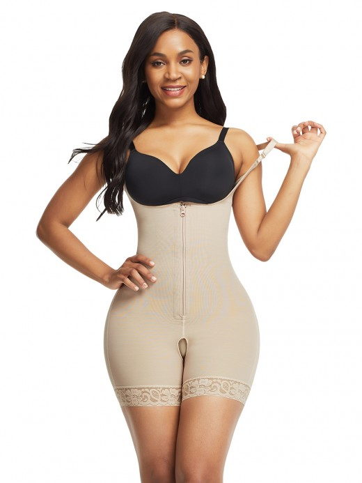 Figure Shaper Skin Color Full Body Shaper Lace Trim Front Zipper
