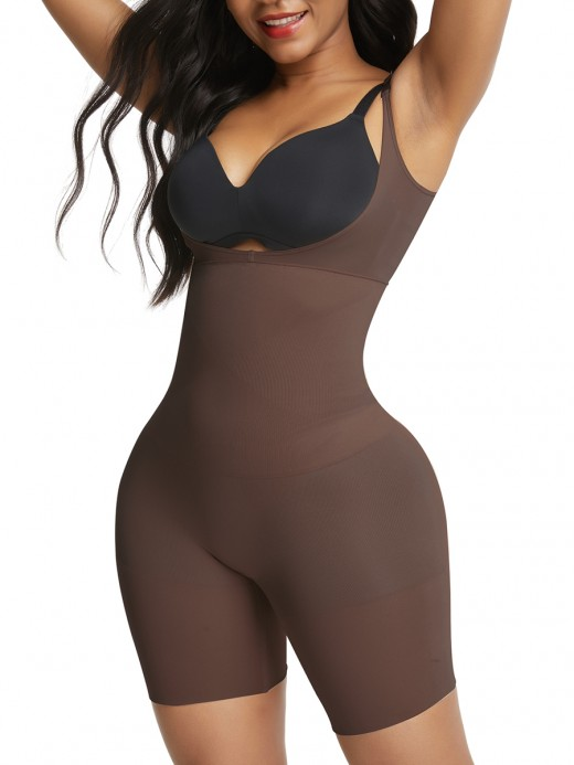 Deep Coffee High Waisted Seamless Body Shapewear Shorts Secret Slimming