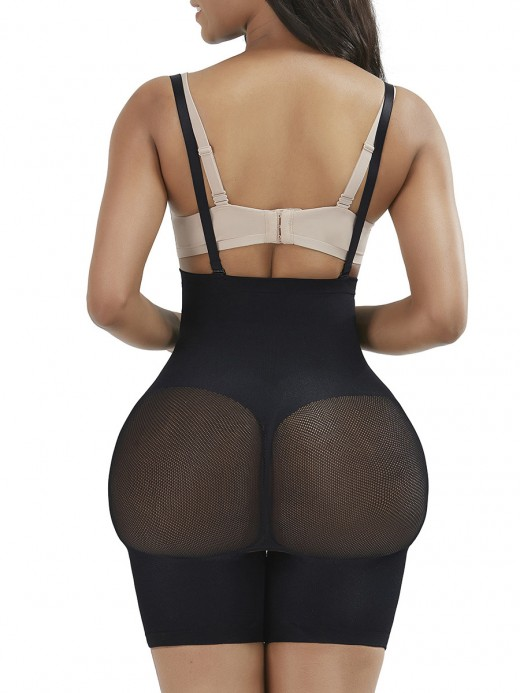 Black Seamless Sheer Mesh Full Body Shaper High Power