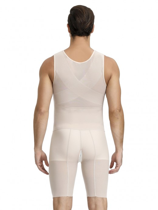Skin Solid Color Large Size Men's Shaper Criss Cross Calories Burning