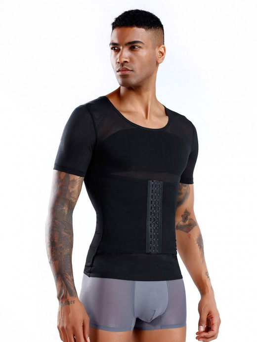 Functional Black Men's Shaper Pressure Band Cross Back Back Support