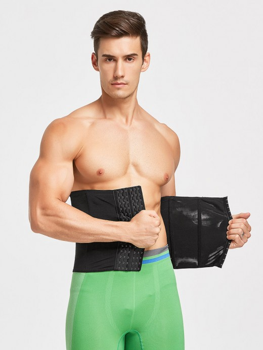 Skinny Black Men Waist Cincher 6 Rows Hooks Mesh Best Tummy