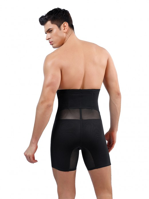 Stunning Black Shapewear Pants Male High Waist Breath