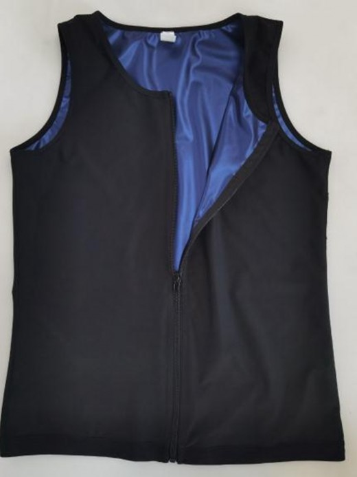 Blue Men Sweat Plus Size Shpaewear Tank Zipper For Training