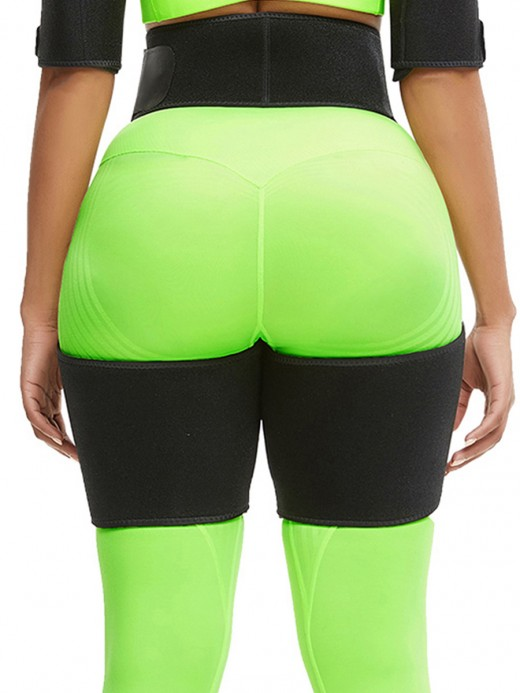Black Neoprene Waist And Thigh Shaper High Waist Fat Burner