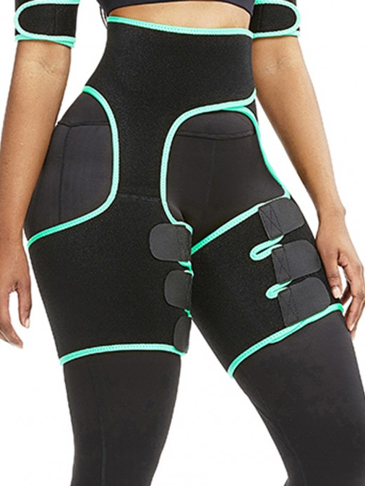 Light Green Sticker Cut Out Thigh And Waist Trainer Neoprene
