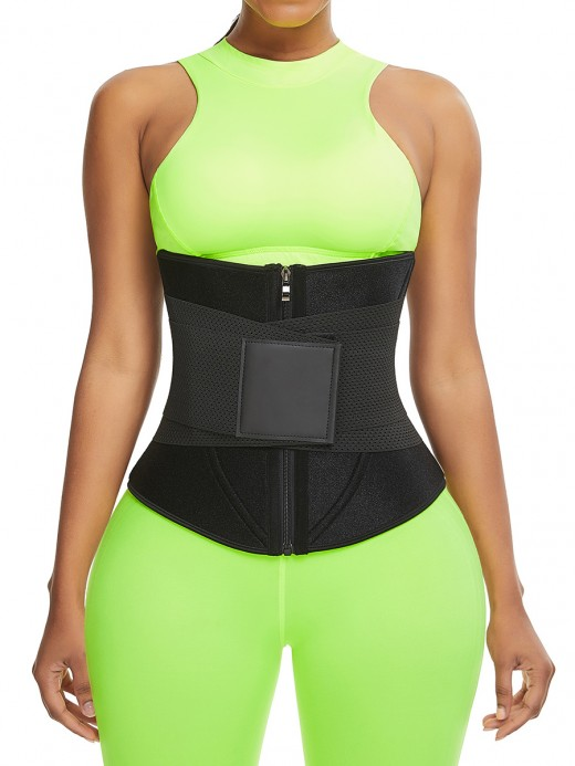 Black Neoprene Zipper Waist Trainer 10 Bones Back Support