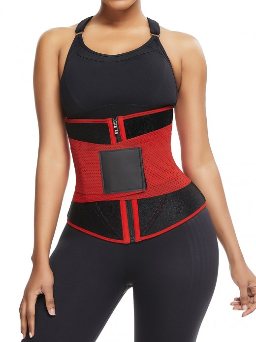Red 10 Steel Bones Neoprene Waist Trainer Calories Burning