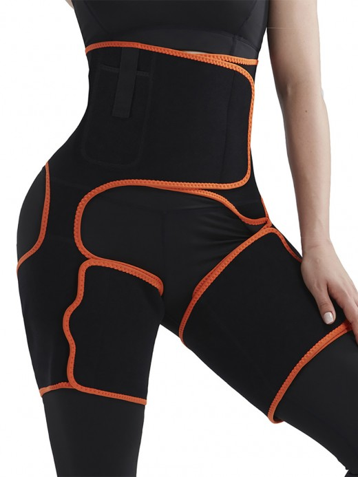 Compression Silhouette Orange Sweat Thigh Trimmer High Waist Pocket