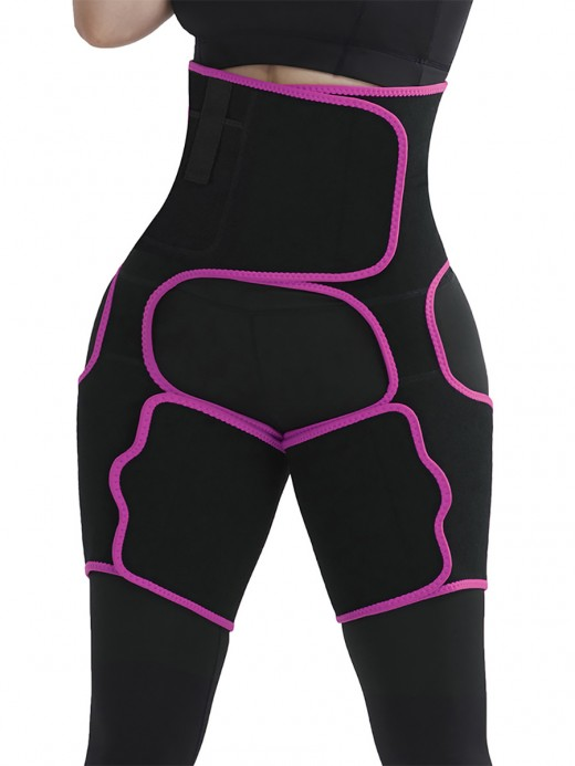 Rose Red Sticker Neoprene Tummy And Thigh Shaper With Pocket