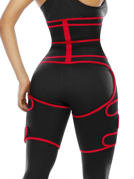 Compression Red Double Belt Sweat Waist And Thigh Trimmer Shaper