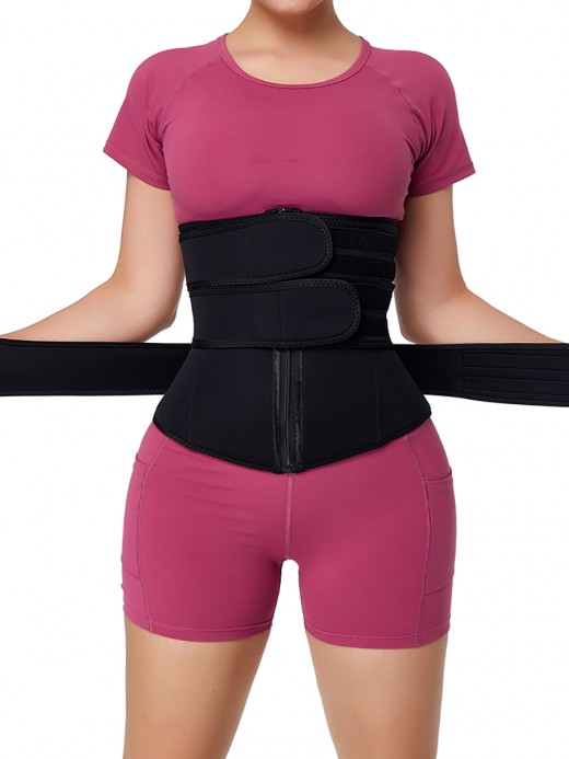 Black Three Belt Neoprene Plus Size Sauna Waist Trainer Higher Power