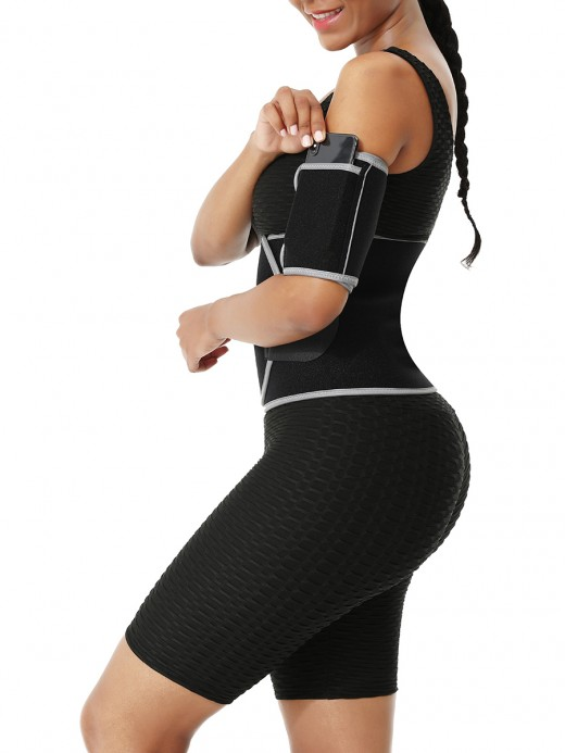 Light Gray Reflective Neoprene Arm Shapers With Pocket For Workout