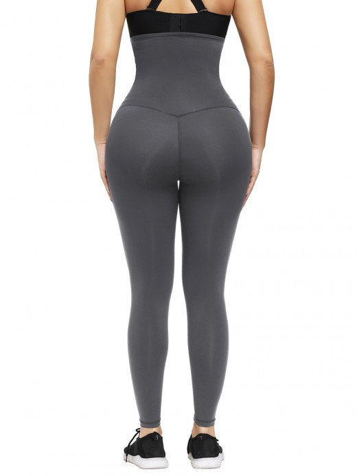 Gray High Waist Shapewear Leggings Ankle Length Tummy Control