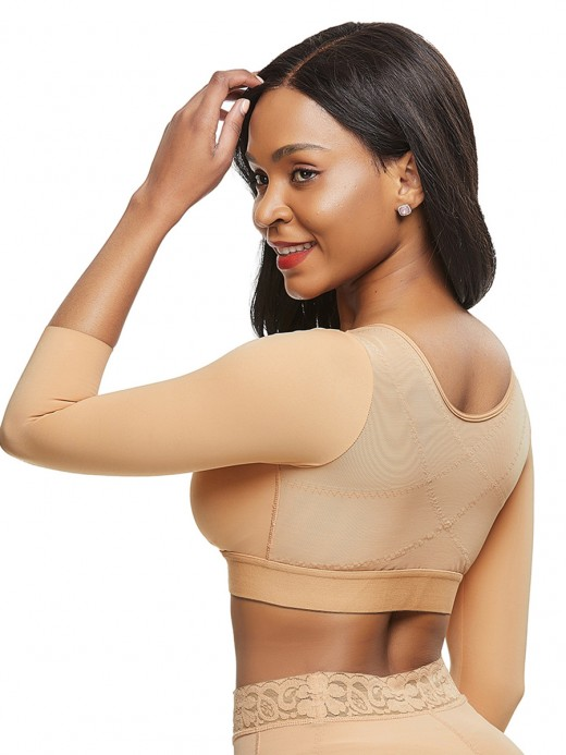 Control Midsection Skin Color Queen Size 3/4 Sleeve Shapewear Bra Body Shapewear