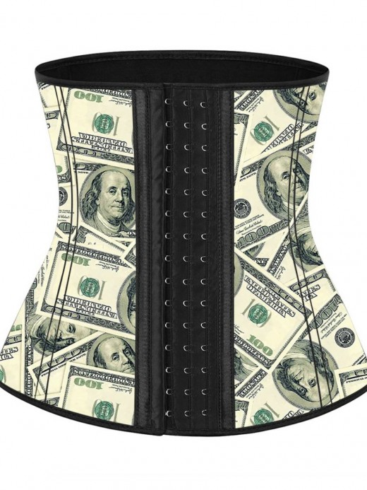 Money Pattern Latex Waist Cincher With Hooks Curve Creator
