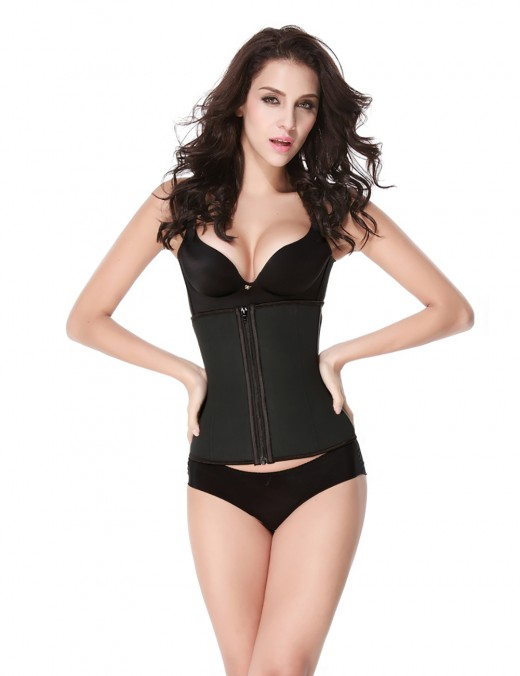 Black 7 Steel Bones Hooks Zipper Latex Waist Trainer Fat Burning