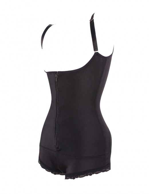 Medium Control Black Plus Size Bodysuit Front Zipper