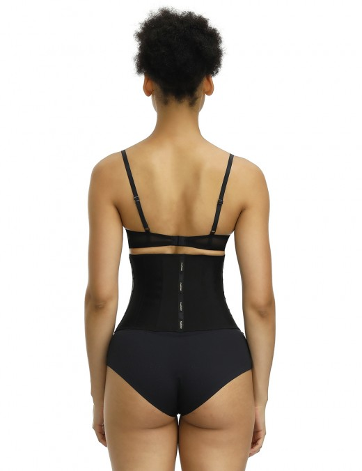 Sleek Smoothers Black 13 Steel Bones Latex Waist Trainer Posture Correction