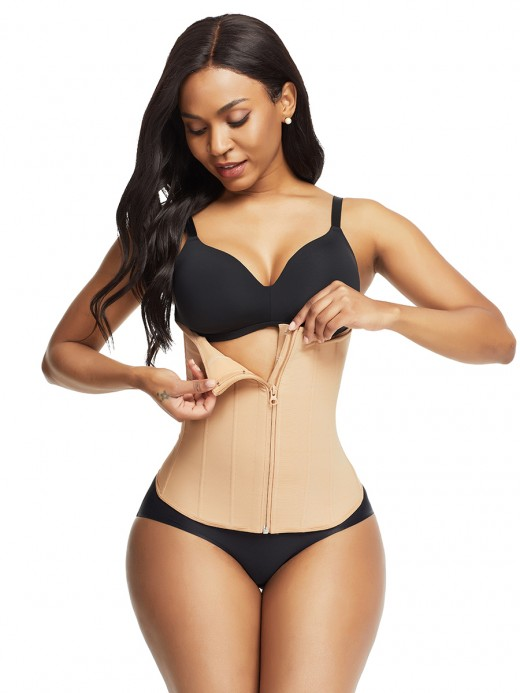 Best Deep Skin Color 9 Steel Bones Waist Trainer Zipper Haute Contour