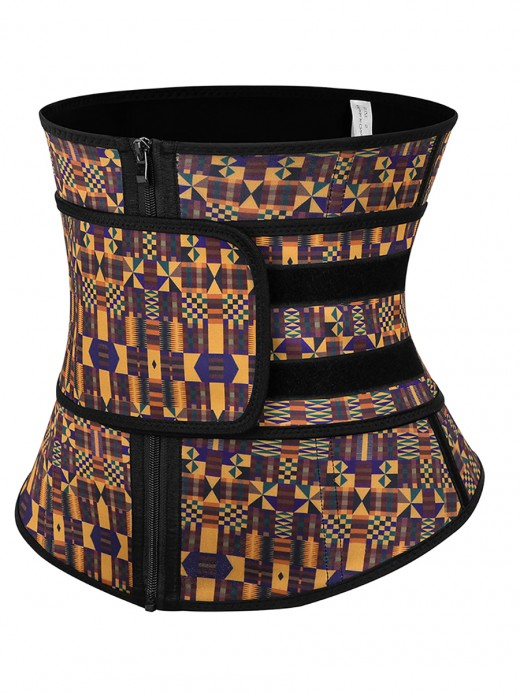 Fitness Zipper African Printing Latex Waist Trainer Fashion Comfort
