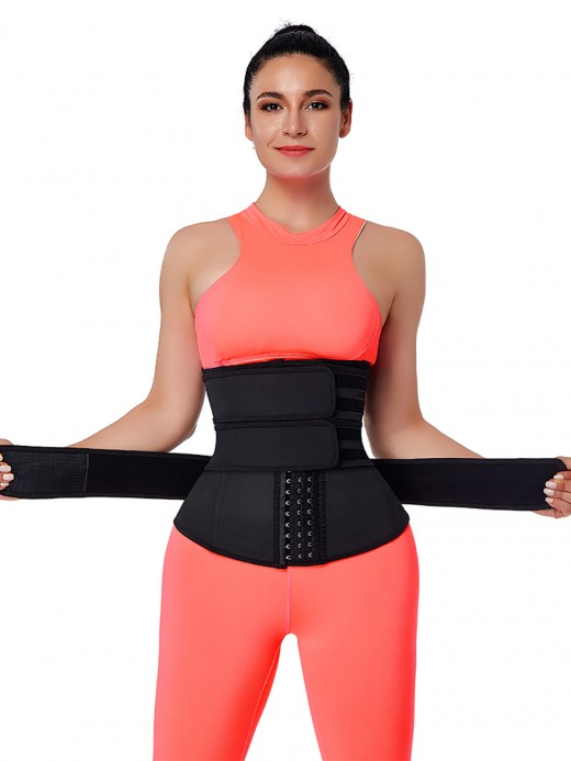 Black Hooks Latex Three-Belt Workout Waist Trainer Fat Burner